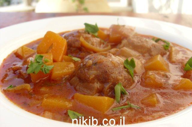 כדורי בשר בדבש וקינמון עם דלעת