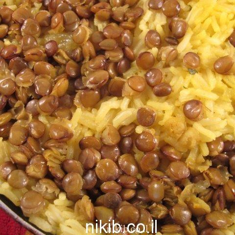 אורז עם עדשים ירוקות / ארוחה ליום שישי בערב