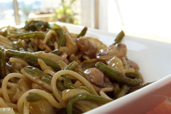 ספגטי מוקפץ עם שעועית ירוקה / ארוחה קלה להכנה